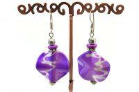 Boucles d'oreilles feuille violette - Collection Jaisalmer