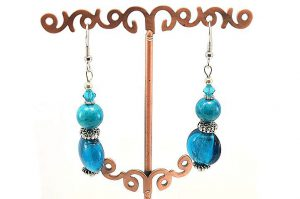 Boucles d'oreilles aux deux bleus - Collection Macchiarelli