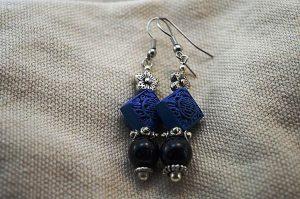 Boucles d'oreilles cinabre bleu - Collection Macchiarelli