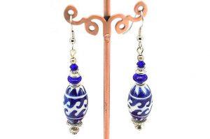 Boucles d'oreilles porcelaine bleue - Collection Macchiarelli