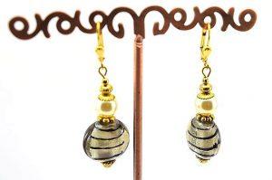 Boucles d'oreilles perle et gris - Collection Macchiarelli