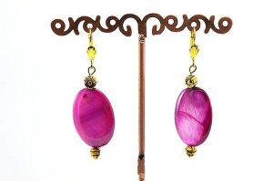 Boucles d'oreilles en nacre fuschia - Collection Macchiarelli
