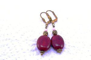 Boucles d'oreilles en jadéite rouge rosé - Collection Macchiarelli