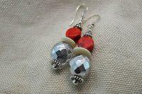 Boucles d'oreilles corail et perle facettée - Collection Macchiarelli