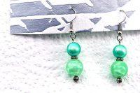 Boucles d'oreilles en double bleu/vert - Collection Orion