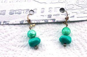 Boucles d'oreilles en double bleu/vert-2 - Collection Orion