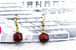Boucles d'oreilles en bois foncé - Collection Orion