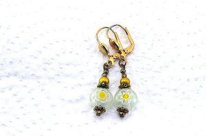 Boucles d'oreilles Millefiori blanc- Collection Pacific