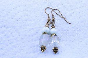 Boucles d'oreilles blanc sur blanc - Collection Pacific