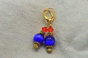 """Boucles d'oreilles """"oeil de chat"""" bleu - Collection Pacific"""