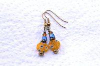 Boucles d'oreilles Millefiori jaune- Collection Pacific