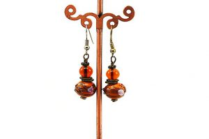 Boucles d'oreilles en lampwork jaune - Collection Pacific