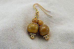 Boucles d'oreilles en pierre marron - Collection Pacific