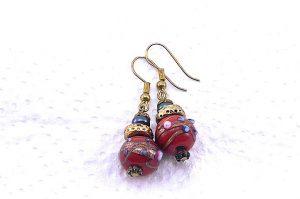 Boucles d'oreilles en lampwork rouge - Collection Pacific