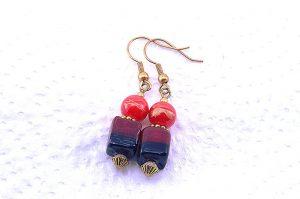 Boucles d'oreilles en double rouge - Collection Pacific