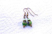 Boucles d'oreilles Millefiori vertes - Collection Pacific