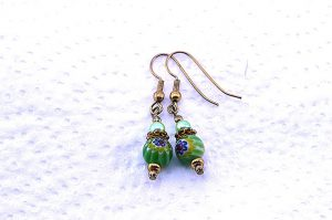 Boucles d'oreilles Millefiori vertes - Collection Pacific