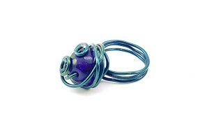Bague bleu foncé en fil d'alu - Collection Adélaïde