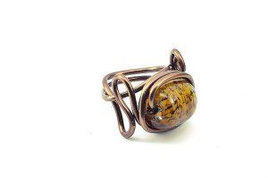Bague en verre et fil d'alu marron- Collection Agathe