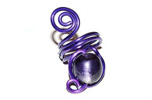 Bague en perle de verre violette - Collection Agathe