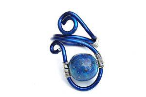Bague en pierre bleue et fil d'alu- Collection Agathe