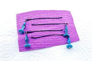 Barrettes métal et perles résine bleues - Collection Bric à Brac