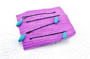 Barrettes métal avec perles bleues - Collection Bric à Brac