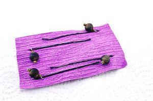 Barrettes métal et perles résine noir 2 - Collection Bric à Brac