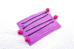 Barrettes métal avec perles bois rose - Collection Bric à Brac