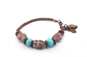 Bracelet en fil et perles lampwork - Collection Alida