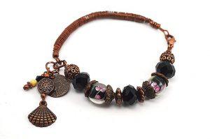 Bracelet noir et fil de cuivre - Collection Alida