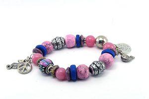 Bracelet rose et bleu, avec perle du Pérou - Collection Beijing