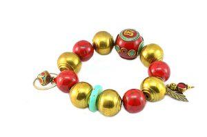 Bracelet rouge et doré - Collection Beijing