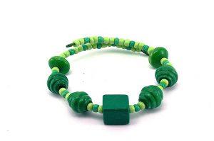 Bracelet vert en bois et fil d'alu - Collection Alida