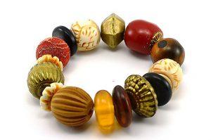 Bracelet bois, corne et résine - Collection Gujarat