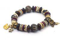 Bracelet noir en corne, bois et os - Collection Gujarat