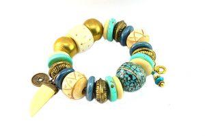 Bracelet bleu et blanc, corne et métal - Collection Gujarat