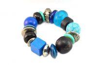 Bracelet bleu en bois et métal - Collection Maroussia