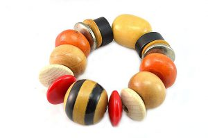 Bracelet grosses perles en bois - Collection Gujarat