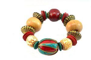 Bracelet beige et rouge - Collection Gujarat