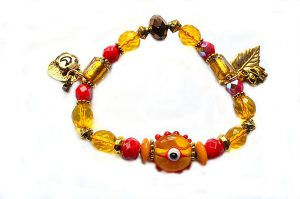 Bracelet en verre jaune et rouge - Collection Siruya