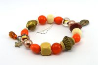Bracelet orange et perles en bois - Collection Siruya