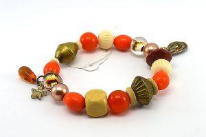 Bracelet orange et perles en bois - Collection Siruya