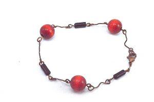Bracelet fin en bois et cuivre - Collection Tamalé