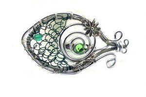 Broche poisson en fil argenté- Collection Hoken