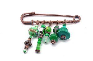 Broche en harmonie de verts - Collection Tarentelle