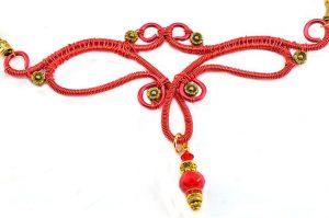 Collier au fil rouge et doré - Collection Chrysalide