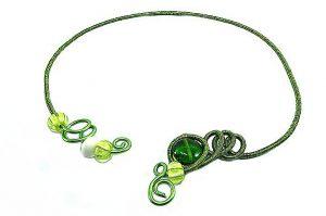 Collier torsadé vert et jaune - Collection chrysalide