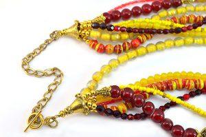 Collier multi-rang rouge et jaune - Collection Manhattan