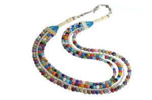 Collier multicolore en perles de verre - Collection Néfertiti